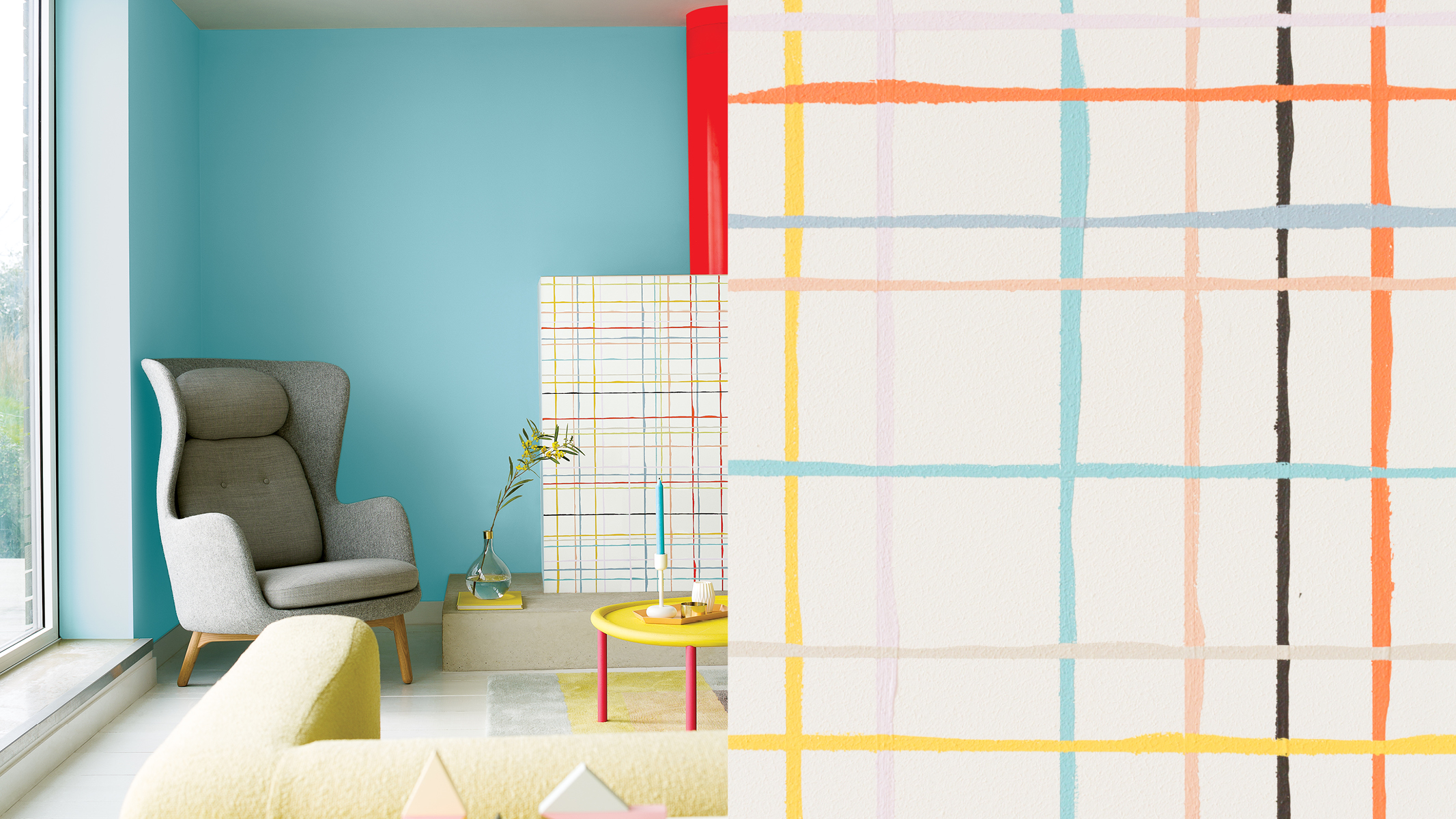 Here, multiple hand-painted grids have been painted in complementary colours for a playful look that evokes controlled chaos.