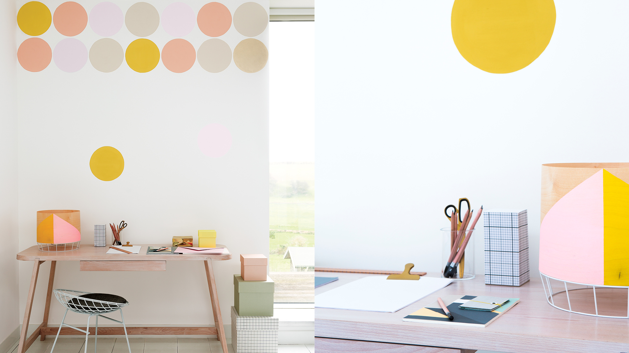 Circles are a captivating decorating idea, but too many will overpower the effect, so less is definitely more when it come to this appealing look.