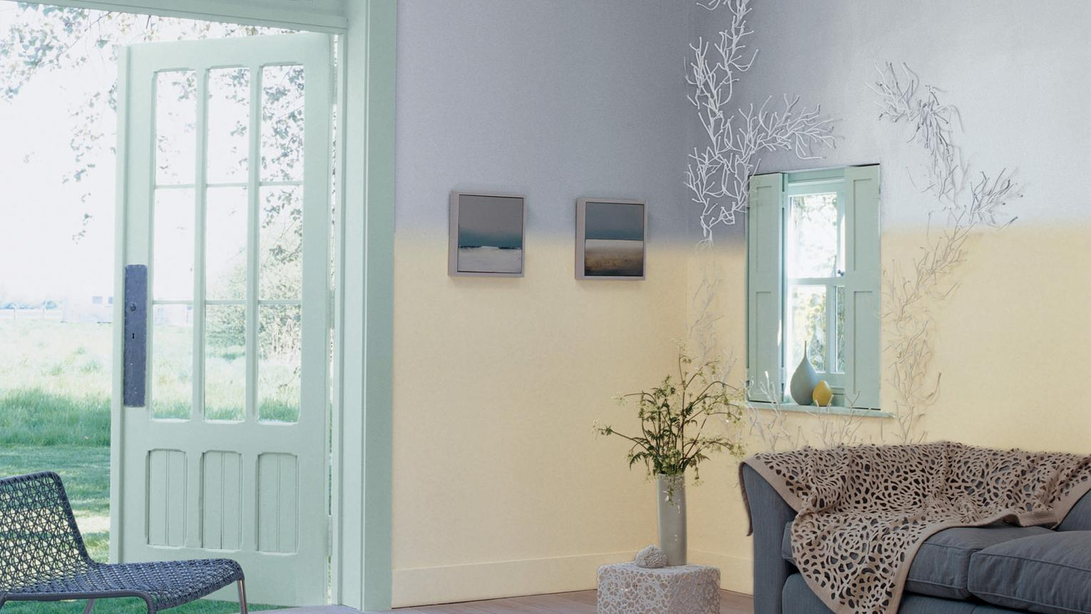 Blend soft grey and delicate green for an idyllic beach feel.