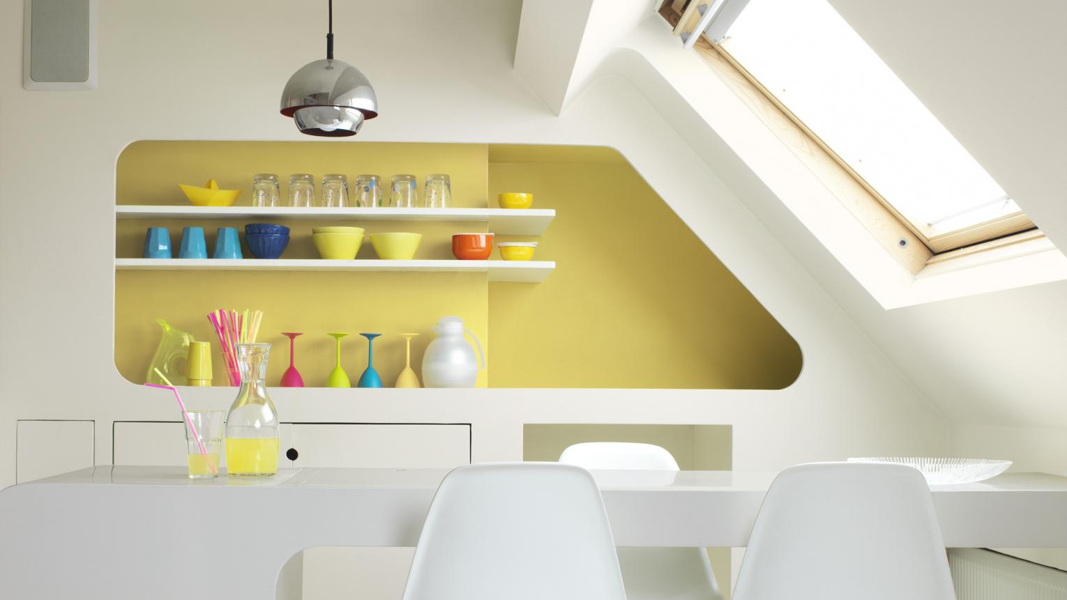Transform shelving into a feature with contrasting colour.