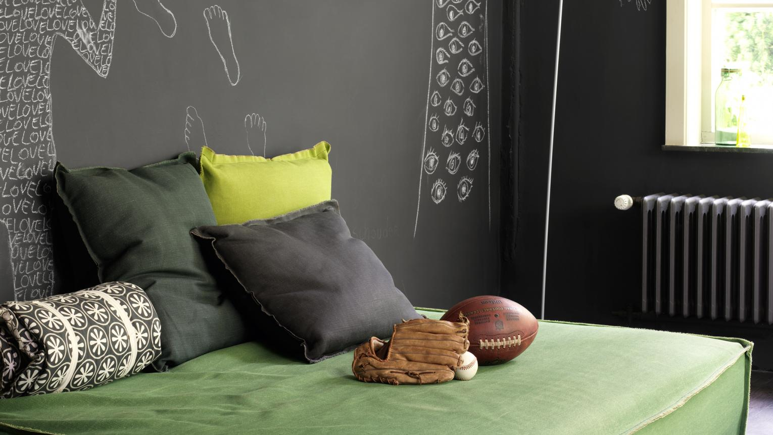 Lush greens get a modern look when matched together with dark grey.