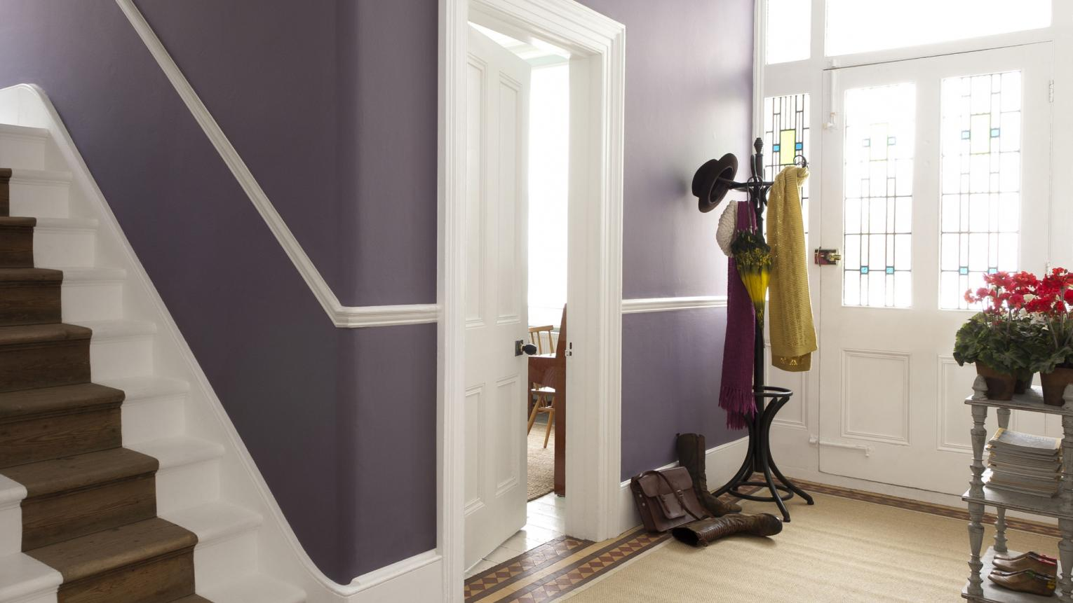 Use a deep colour of purple to enhance a grand entrance hall.