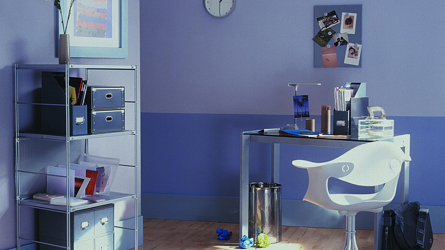 Create a focal point with two shades of violet across one wall.