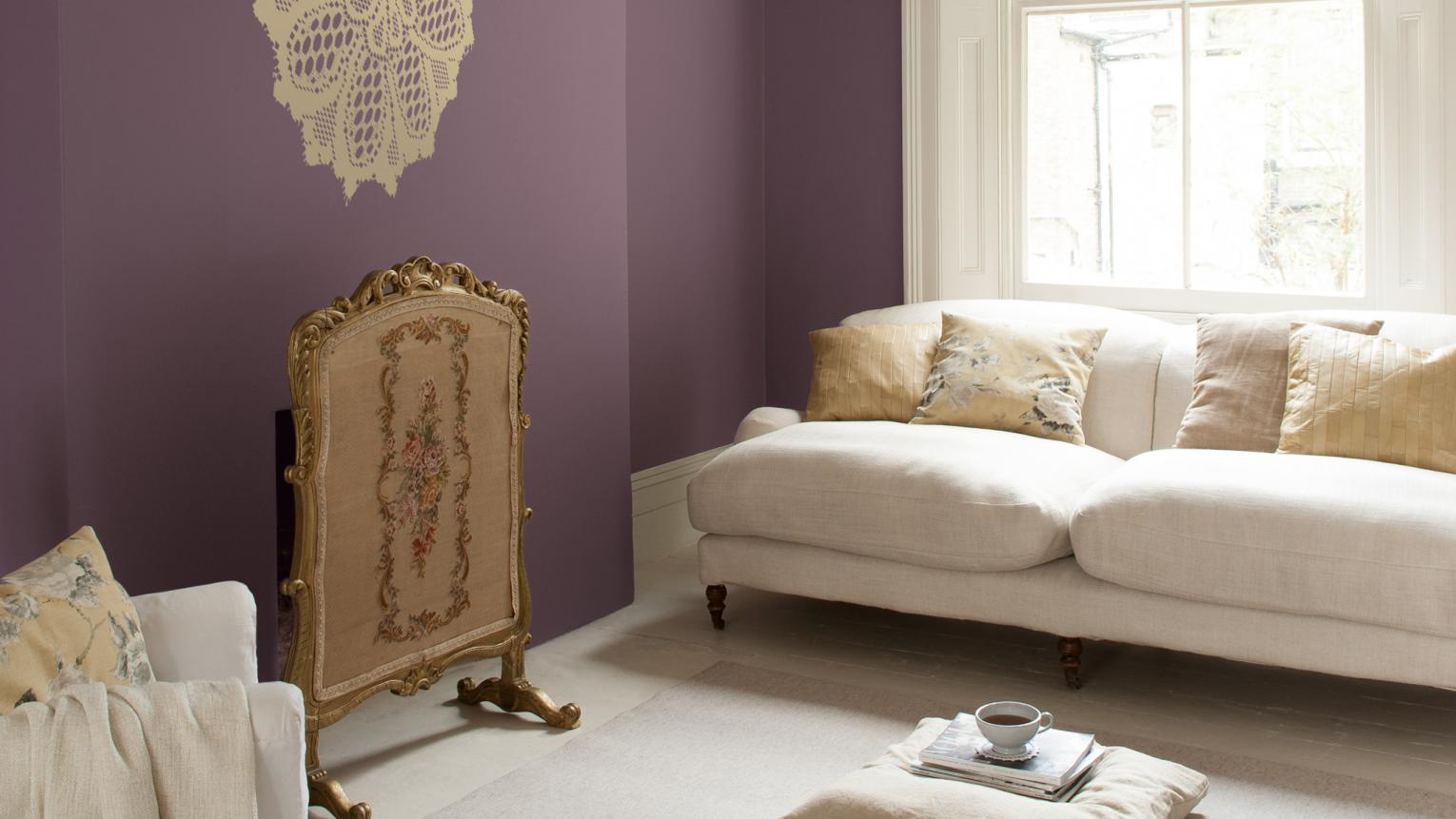 Violet and creamy whites create a dreamy, female mood.